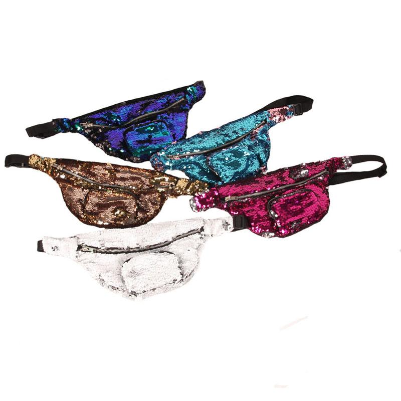 Bling Sequins Waist Bag Double Color Sequins Makeup Bag Mermaid ... c775731d2695