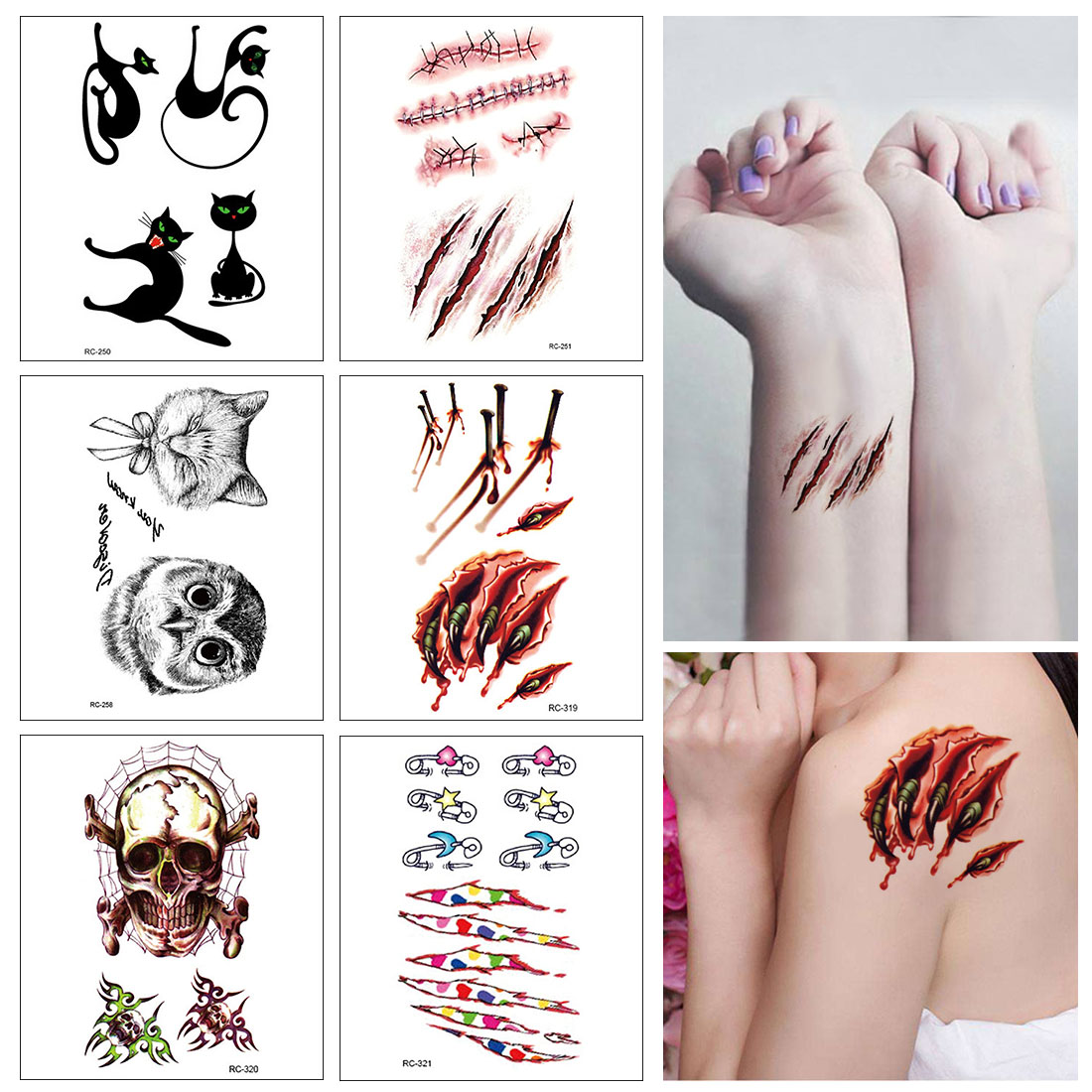/ beängstigend halloween blutverletzung aufkleber tattoo aufkleber für halloween cosplay body makeup halloween party tattoo aufkleber
