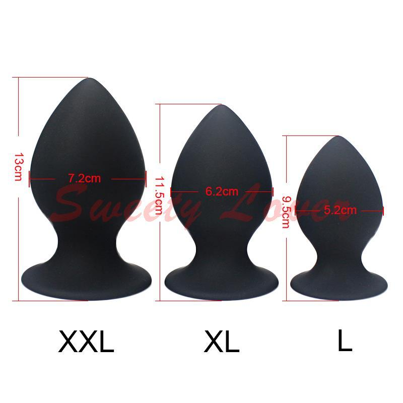 3 in 1 Super Big Size Silicone Butt Plug Set Large Anal Plugs Sex Toys for Men Woman Unisex Anal Sex Toy Rose/Black L XL XXL Y1892803