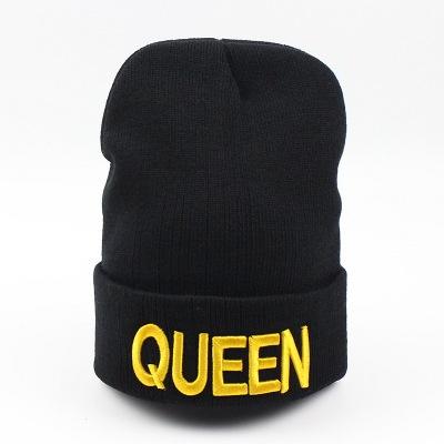 Kral Kraliçe Beanies Şapkalar Erkekler Kadınlar Nakış Bonnet Sweety Çift Örgü Şapka Sonbahar Kış Yün Sıcak Kap sevgililer Günü Noel Hediyesi
