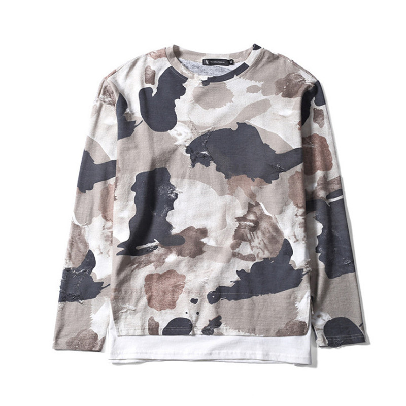 2018 New Fashion Trend Mens Hoodies Mens Personality Camouflage Suit Long-Sleeve Street Style Shirts Camouflage Color Casual Loose Tops