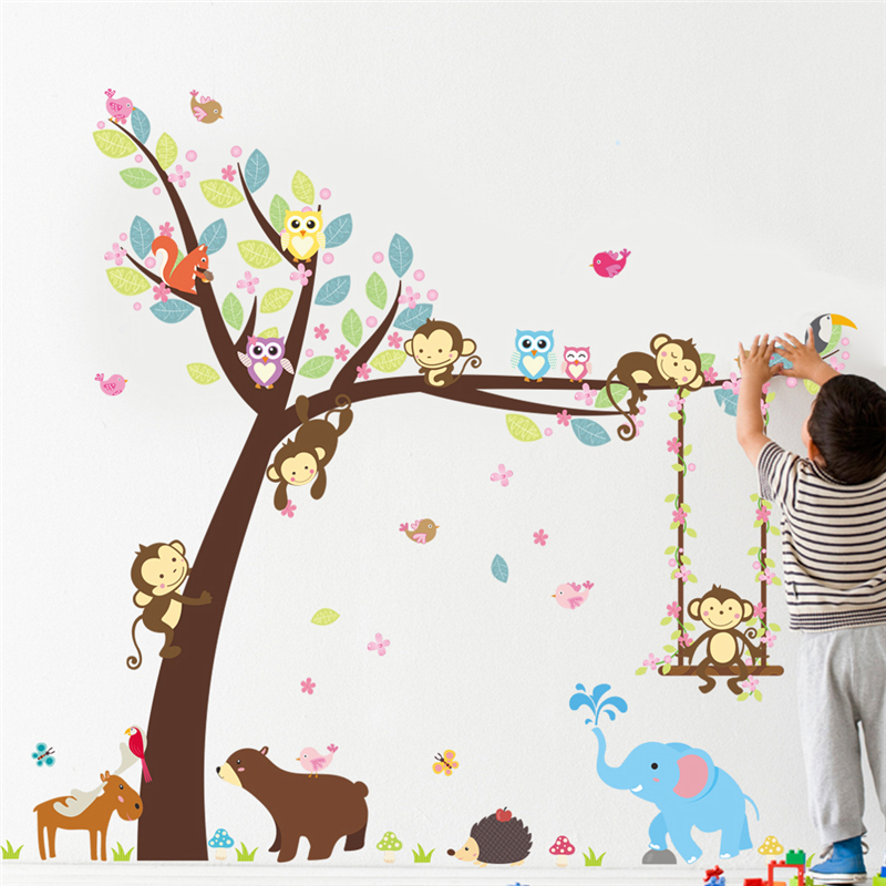 Cartoon Animals Tree Wall Stickers for Kids Room Decor Nursery Monkey Elephant Owlets Safari Mural Art Diy Children Home Decals