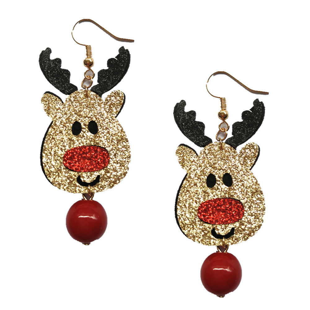 European and American Christmas Ornaments Lovely Gold Elk Red Bead Eardrop CE345