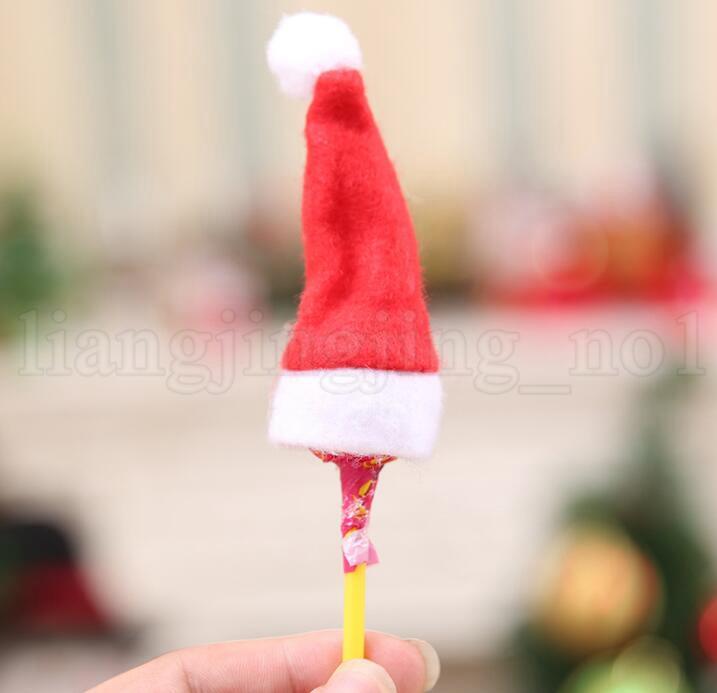 Mini Christmas Santa Claus Hat Lollipop Hat Wedding Candy Gift Caps Christmas Tree Decor W4*H7cm Christmas Ornament Decor KKA6021