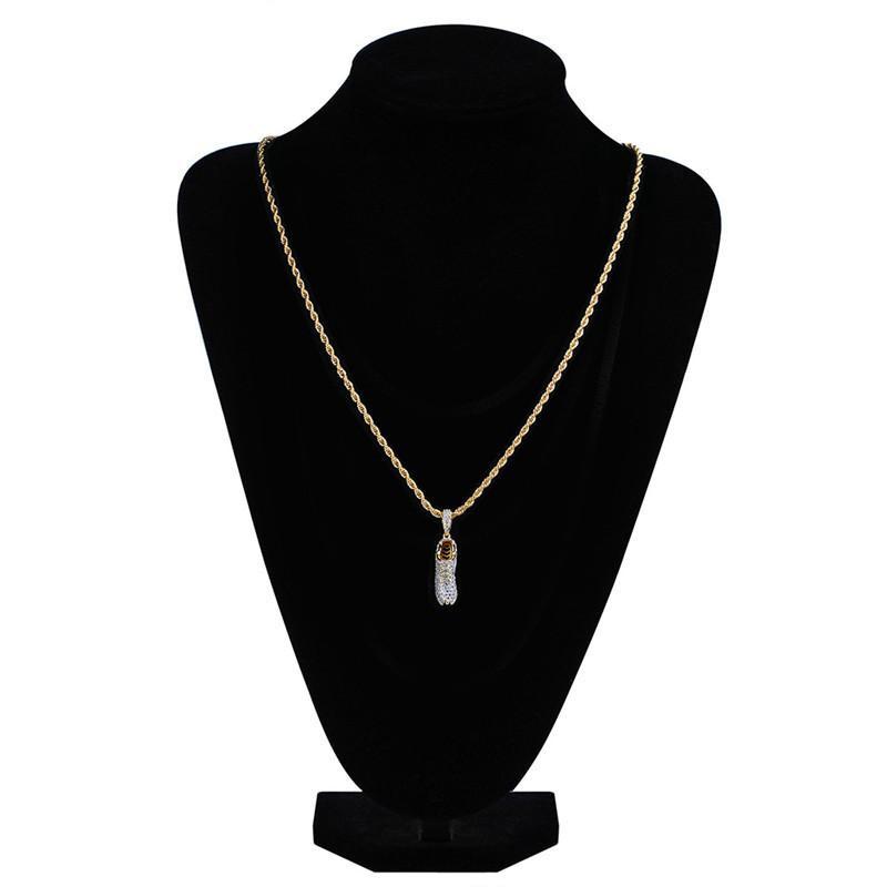Hot Sales Fashion Design Shoes Pendant Necklaces Luxury Men Sneakers Necklace Bling Cubic Zirconia Necklace Fine Jewelry