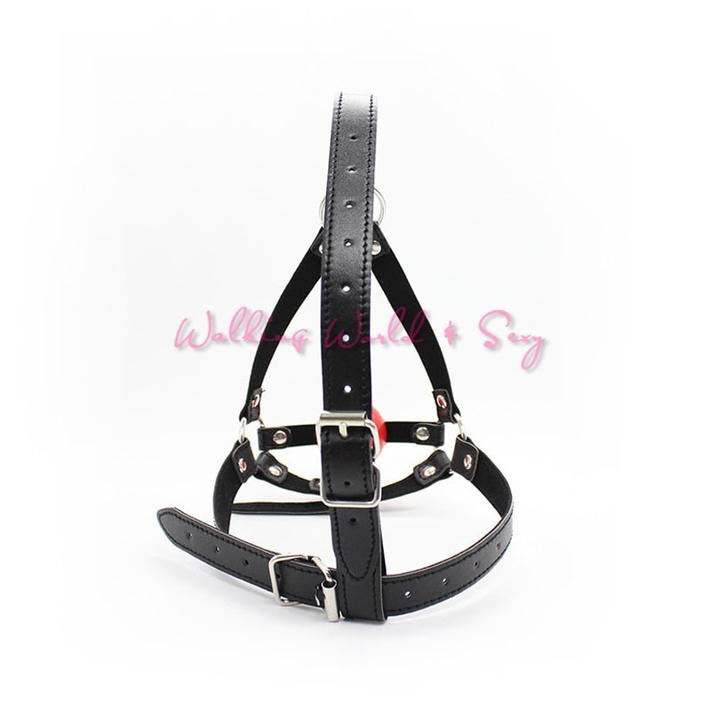 Leather Head Harness Bondage Restraints Mask Open Mouth Gag Silicon Ball Toys Sex Games Adult Fetish Product For Women Men (3)