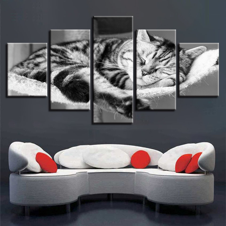 Modular Canvas HD Wall Art Pictures Framework 5 Panel Lovely Sleeping Cat Painting HD Print Animal Poster Living Room Home Decor