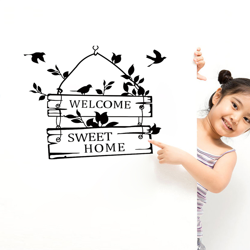 welcome sweet home letters birds pattern wall stickers black decorative vinyl living room indoor decor wall mural art decorationhaif