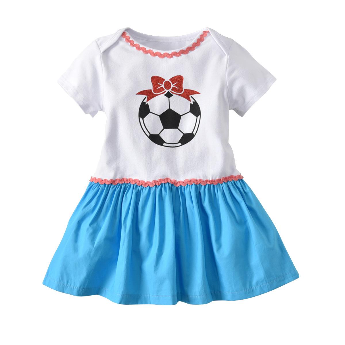 russisches fußballspiel des fußballs 2018 babyfußballdruck-kleidsommer  kindbuchstabe-prinzessinkleid kinderkleidung 2 farben geben verschiffen frei