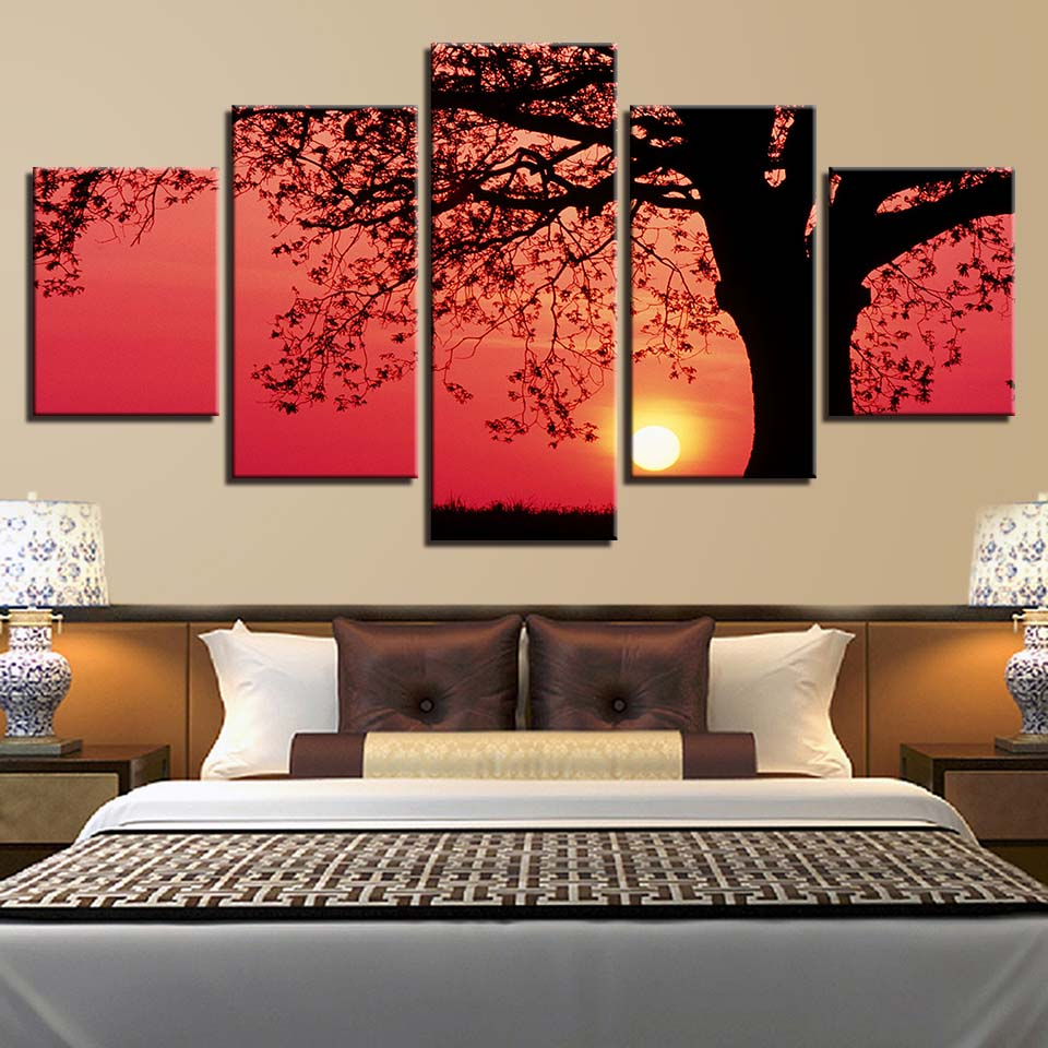 Picture Print Painting Modular Poster 5 Panel Tree Sunset Canvas Frame Artwork For Living Room Home Decor Landscape Wall Artwork