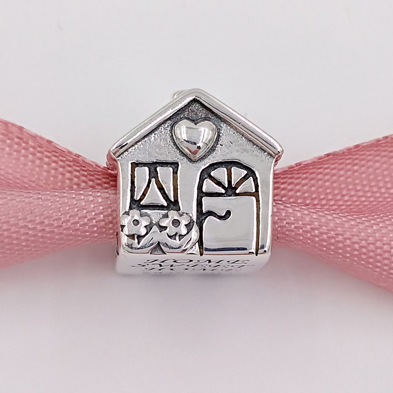 Sweet Home Charms with Red Cz Stone Solid Sterling Silver House Bead Love Family Charms for Euroepan Bracelet
