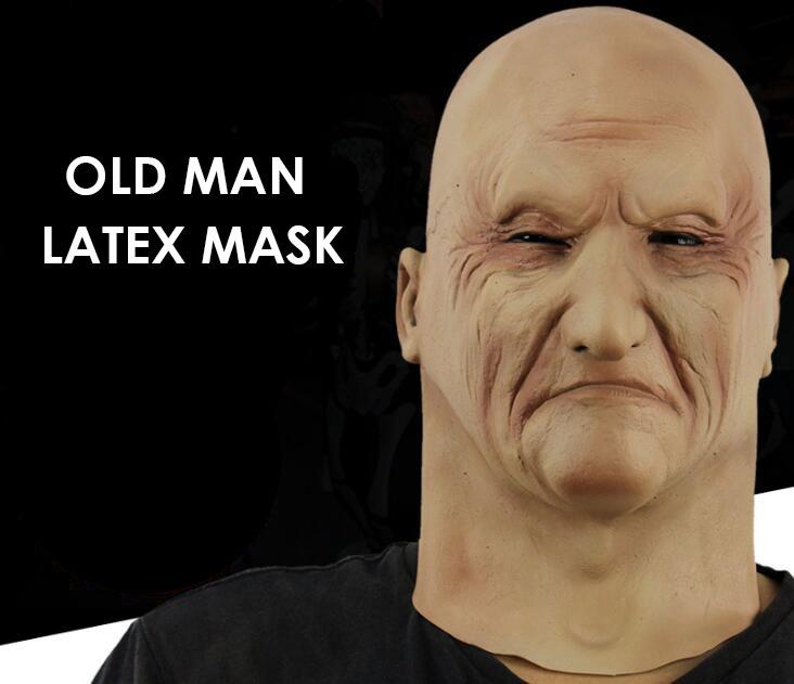 alloween Silicone Vieil Homme Visage Masque Chapeaux Masque R/éaliste Chapeaux Effrayant T/ête De Latex Masque Horreur Vieil Homme Masque Costume Party Masque Cosplay