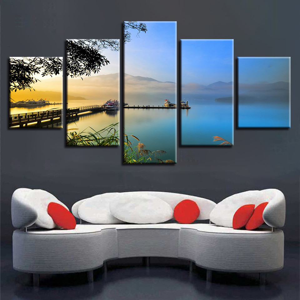Frame Pictures Prints Wall Art Bridge Mountain Sunrise Natural Scenery Canvas Painting Modular Poster Decor Living Room