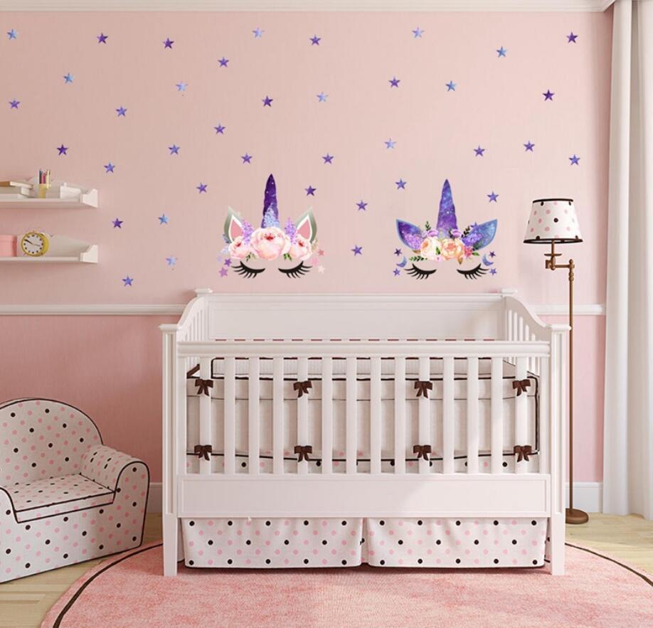 3styles DIY Unicorn Cartoon star Wall Sticker Stars flower Kids Bedroom Decals Poster Wallpaper Art Stickers Living Room decor FFA999