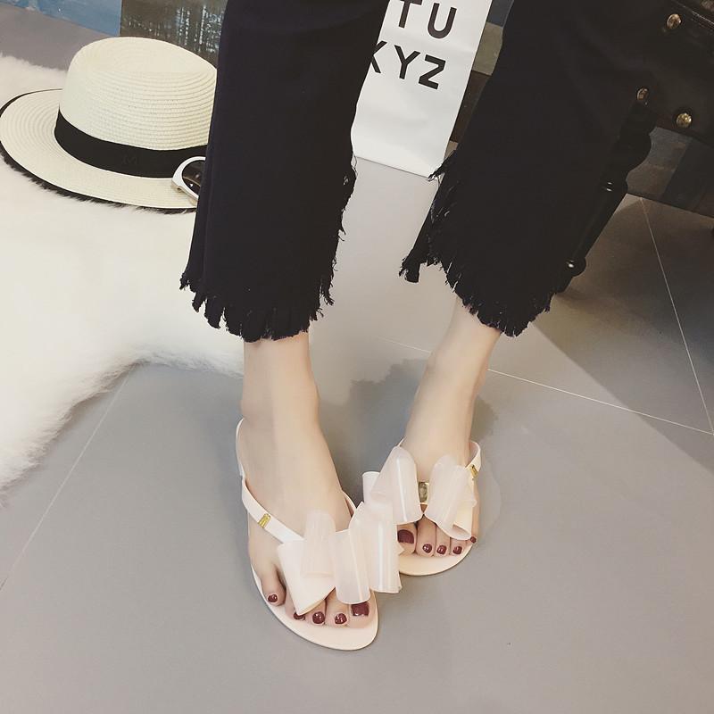 Été Fermé Toe Plage À L'extérieur Des Femmes Pantoufles Solide Papillon-noeud Casual Flat Tongs Mode Concise Shallow Femmes Chaussures