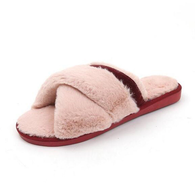 Winter Keep Warm Shoes Fur Cotton Slippers House Slippers Womens Mules Fluffy Slippers Cross Design Slides House Shoes Big Size