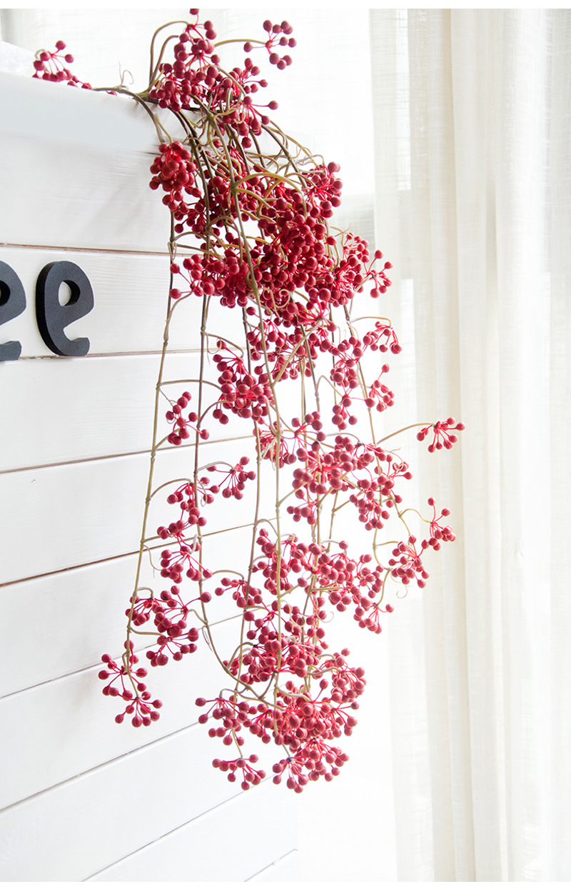 Flone Artificial Flower Branch Fake Red Bean Fruit Vine Simulation Plant Flowers Rattan Wedding Home Party Decoration Floral (15)