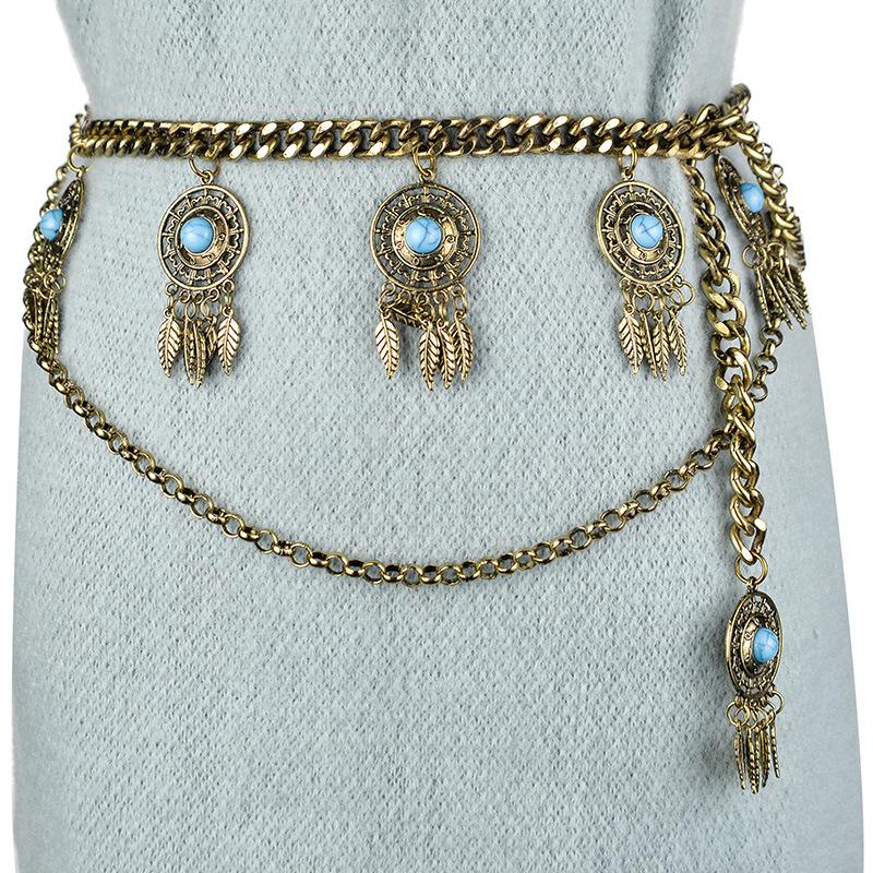 Gypsy Boho Argent Antique Coin Hippie Shimmy ventre ceinture DANSEUSE TAILLE corps chaîne