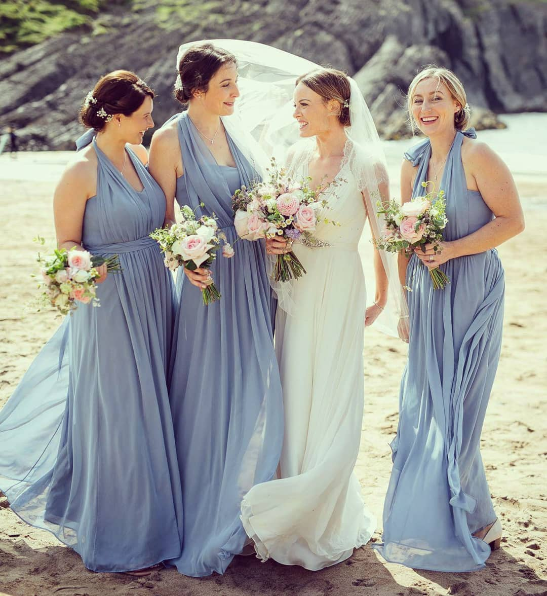 Ice Blue Chiffon Bridesmaid Dresses