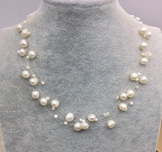 New Arriver Illusion Pearl Necklace,Multiple Strand Bridesmaid Women Jewellery,White Color Freshwater Pearl Choker Necklace