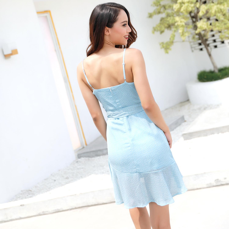 wholesale Women V-neck Spaghetti Strap Dot Dress Women Lotus Line Irregular Dress Female Sashes Sexy Women Summer Dresses