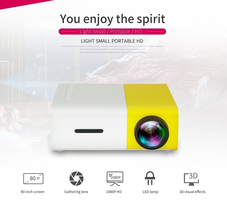1080 P Pico Projektör Film iPhone için Mini Cep Dizüstü Smartphone Projektör Ev Sinema Video Parti ile Taşınabilir LED Projektör Paketi