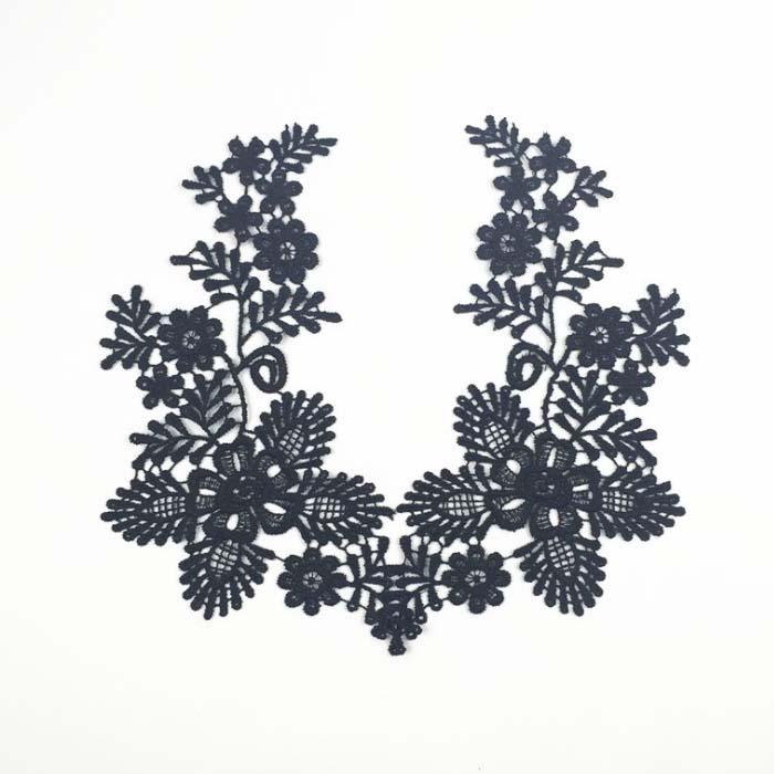 22cm weiße Blume Borte bestickt Nähen Aufbügeln Tuch Aufnäher Abzeichen
