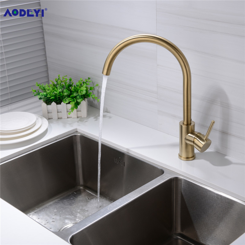 2019 Aodeyi Brass Black And Brushed Gold Kitchen Faucet Hot And Cold Water Mixer Basin Taps Gooseneck Rotatable 13 021b From Sojo Price