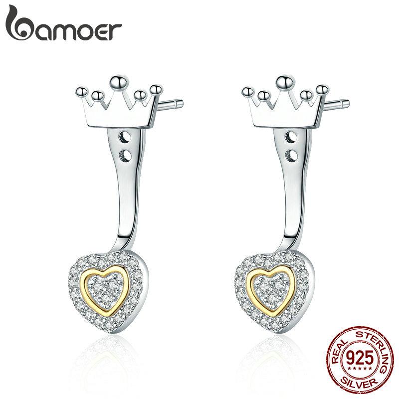 Crown King Princess CZ Stud Earrings Real Sterling Silver 925
