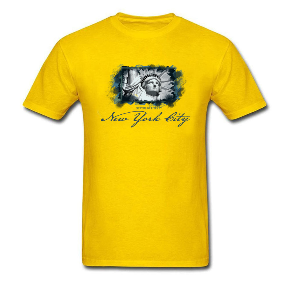 Tops Shirts Birthday Top T-shirts Summer Autumn 2018 New Fashion Group Short Sleeve 100% Cotton O Neck Men T Shirts Group New York City Statue of Liberty yellow