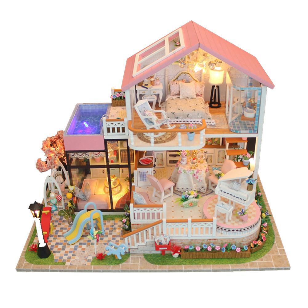 Modelli Di Case Da Costruire regali di natale miniatura fai da te giocattolo giocattolo casa delle  bambole modello mobili in legno building blocks giocattoli regali di  compleanno