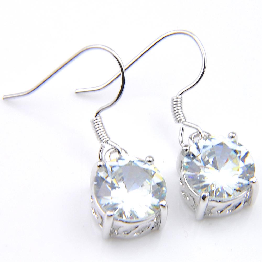 925 Silver Luxury Shiny Round White Topaz Long Drop Dangle Stud Earrings Jewelry