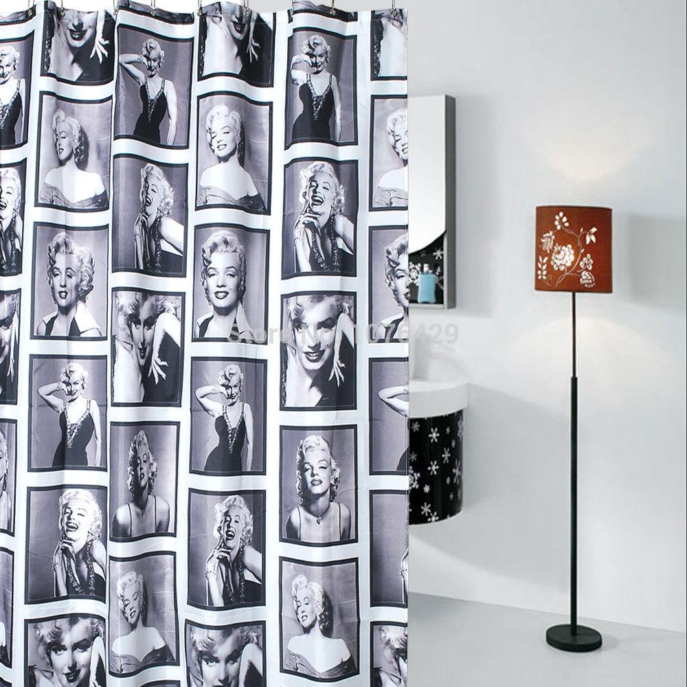 Fabric Shower Curtain Creative Color Stripe Bathroom Waterproof 72inch /& 12Hooks
