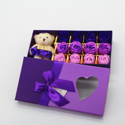 Romantic Rose Soap Flower With Little Cute Bear Doll Box Gift For Valentine Day Gifts for Wedding Gift for birthday Gifts