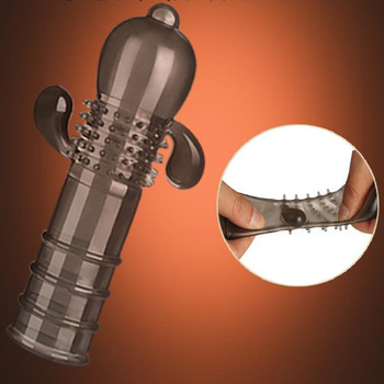 Delay condom for man penis Sleeve Dildo Extender cock reusable stonger male sex toys Penis Enlarger extension Sex products O2