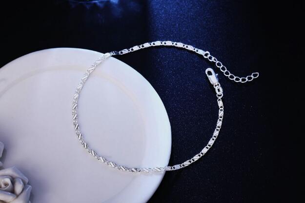 2018 New fashion 2mm plating Gold silvery Bracelet Foot chain flat chain Side Bracelet Car flower Foot ornament 22.5cm+3cm