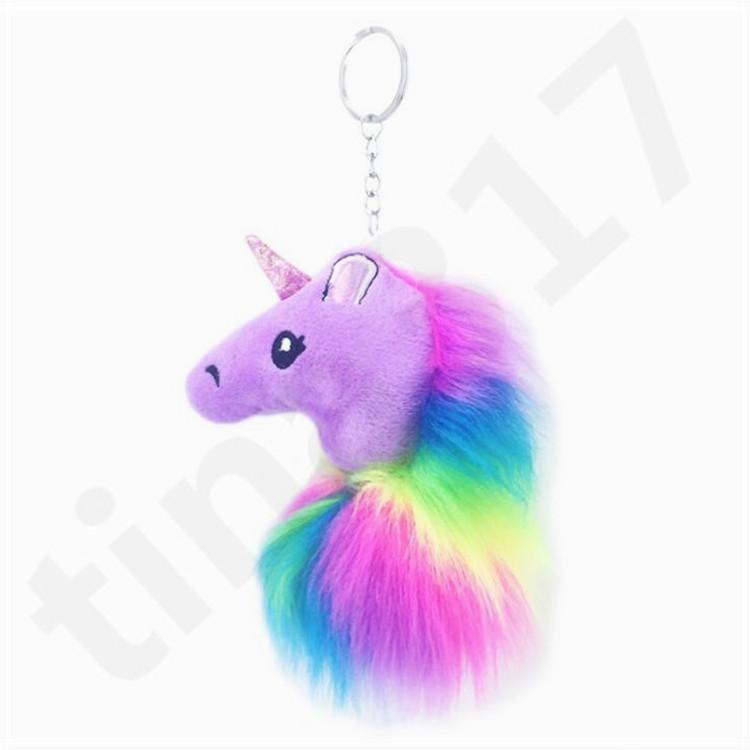 HOT New Plush Unicorn Doll Keyring Hair Ball Key Buckle Pendant Artificial Wool Lady Bag Car Keys Accessories T7C080