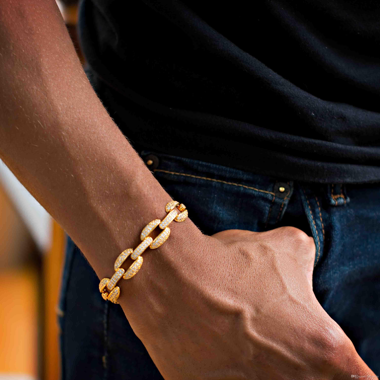 21cm 2018 cuban link chain lab diamond cz mens bracelet gold plated iced out bling Cool Hip hop Rock boy men jewelry chain KKA2189