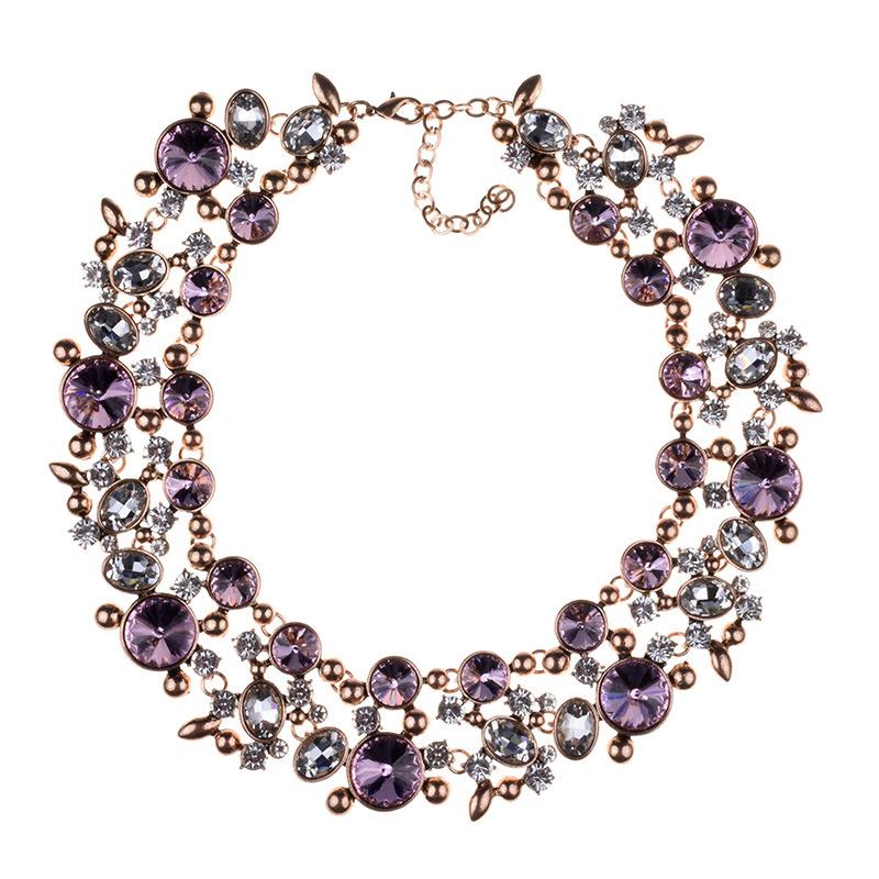 Büyük Vintage Çiçekler Rhinestone Kolye Varış Yeni Moda kadın Yuvarlak 2018 için Renkli Takı Yapay Kristal Gerdanlık