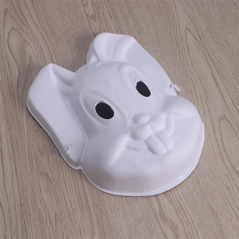 6 PCS DIY Paint Rabbit Mask Easter Bunny Painting Mask Full Face Costume Pulp Blank White Masks for Party Decoration