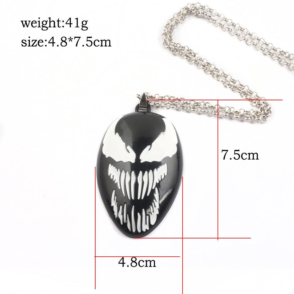 The Venom metal Key ring toy necklace spiderman keychain metal pendant black halloween xmas gift Game Accessories toys FFA982