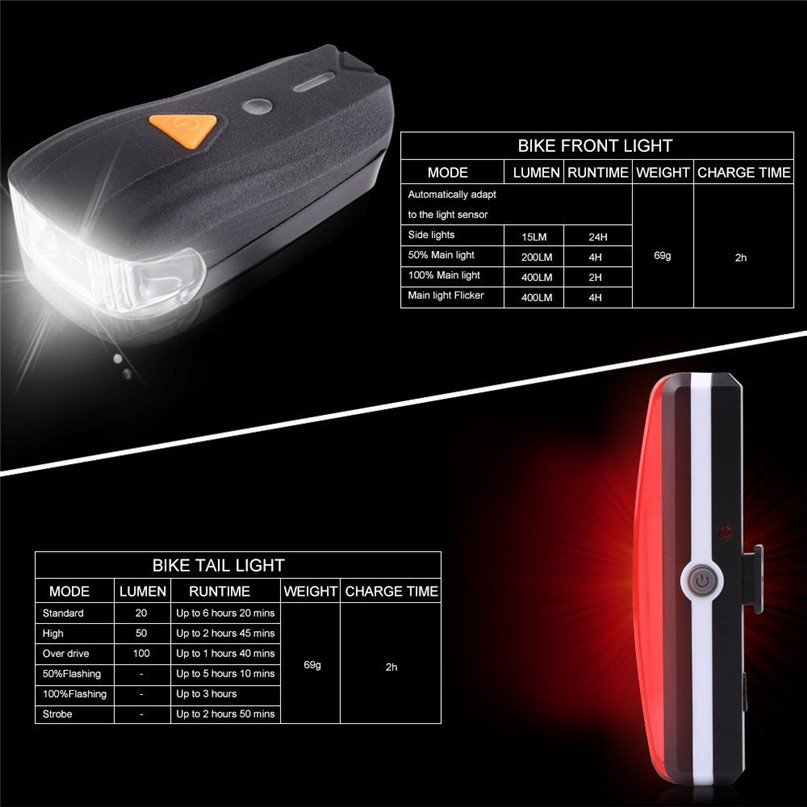 USB Rechargeable LED Bike Bicycle Cycling Front Rear Tail Light Headlight Lamp for Strobe Warning lamp night riding safety #2A30 (3)