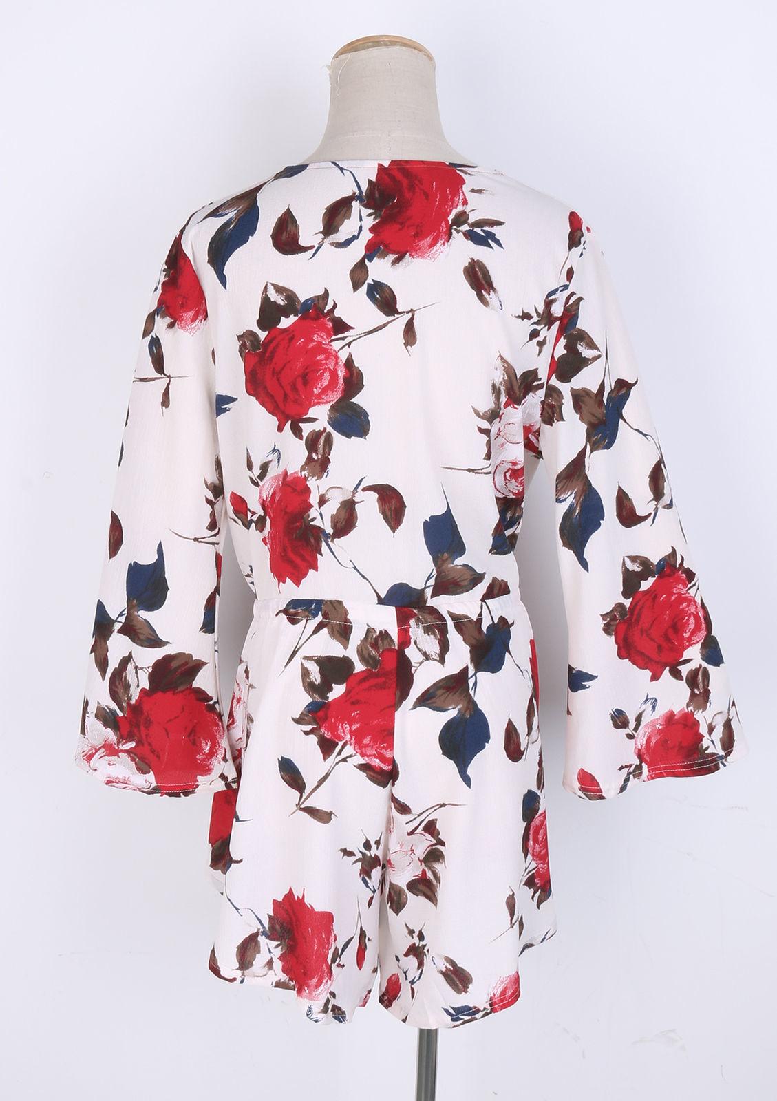 Women Jumpsuit Floral Kimono Collar Tie Waist Short Sleeve Ruffles Wrap Short Jumpsuit Summer Beach Casual Bodysuits