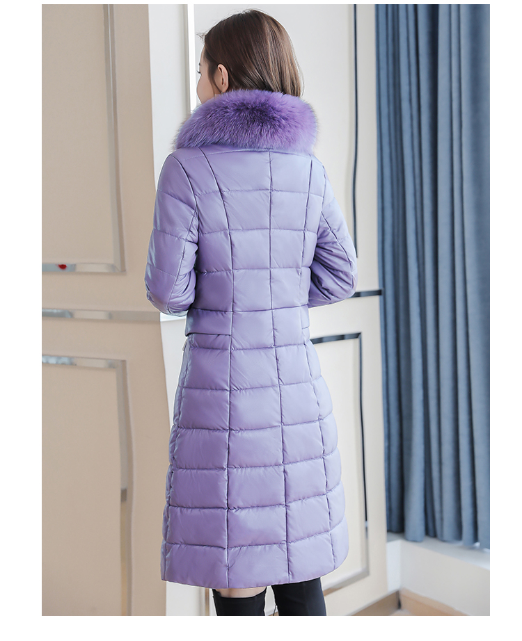 8300 Plus Size Faux Fur Collar Leather Jackets Women Slim Long Warm Down Fur Coat Elegant Top Quality Manteau Femme Hiver 5xl 2018 3