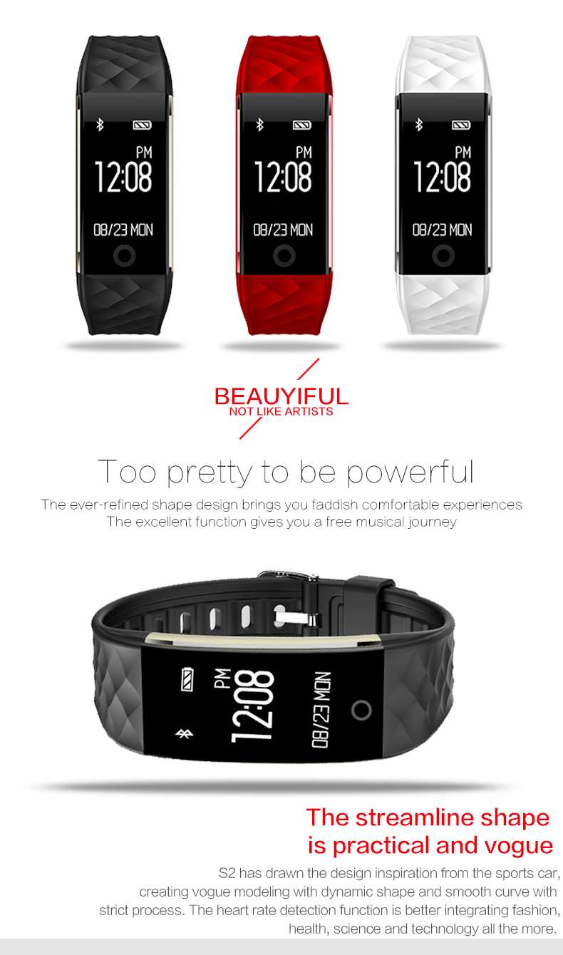 Bluetooth Smart Band S2 Wristband Heart Rate Monitor IP67 Waterproof  Smartband Activity Tracker Bracelet For Android IOS Smart Watch Smartwatch  360