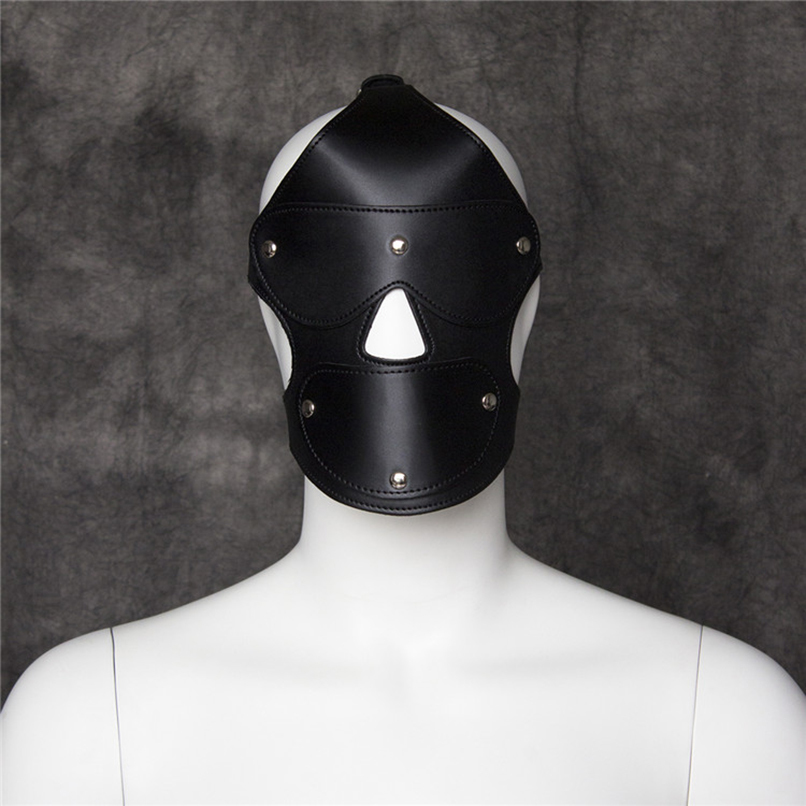 PU Leather Sex Hood Mask Ball Gag Firting Sex Products Open Mouth Gag Slave bdsm Bondage Restraints SM Erotic Sex Toy for Women