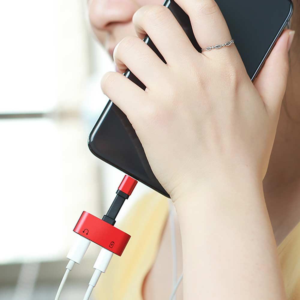Adaptador de audio de la mejor calidad para iPhone 7 8 Plus X de carga / audio 2 en 1 Adaptador de cable de cargador para iPhone Conector Jack para auriculares Cable AUX