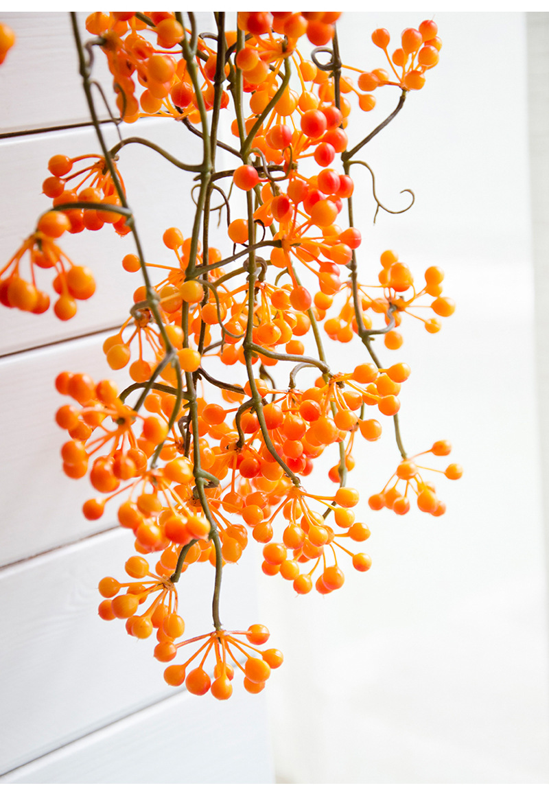 Flone Artificial Flower Branch Fake Red Bean Fruit Vine Simulation Plant Flowers Rattan Wedding Home Party Decoration Floral (5)