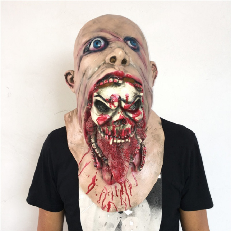 Halloween Movie Saw Chainsaw Massacre Latex Masks Scary Full Face Masks Scary Prop Unisex Party Nausea Rot Bloody Zombie Masks