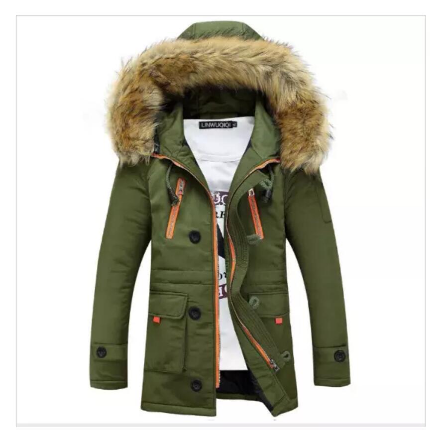 Hiver Homme mi long en coton mélangé Manteaux à capuche col en fourrure chaude épaisse neige paraks